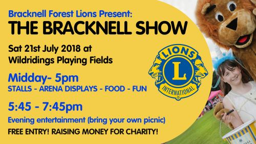 Bracknell Show 2018- 21st July at Wildridings Playing Fields