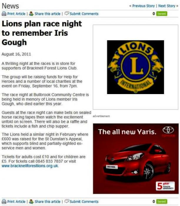 Article advertising Race Night